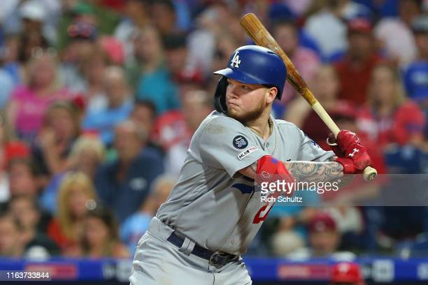 Alex Verdugo of the Los Angeles Dodgers in action against the Philadelphia Phillies during a baseball game at Citizens Bank Park on July 15 2019 in...