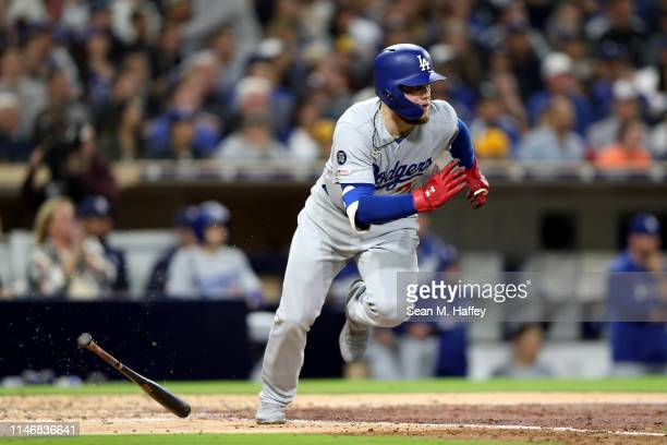 Alex Verdugo of the Los Angeles Dodgers runs to first base during a game against the San Diego Padres at PETCO Park on May 03 2019 in San Diego...