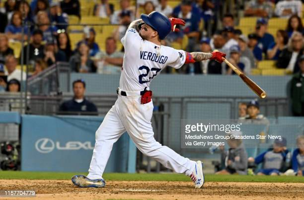 Alex Verdugo of the Los Angeles Dodgers watches his game winning home run to defeat the Colorado Rockies 54 in eleven innings of a MLB baseball game...