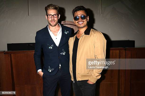 Alex Vinash and Pritan Ambroase pose backstage at Alex Vinash September 2016 New York Fashion Week at The Church of the Holy Apostles on September 15...