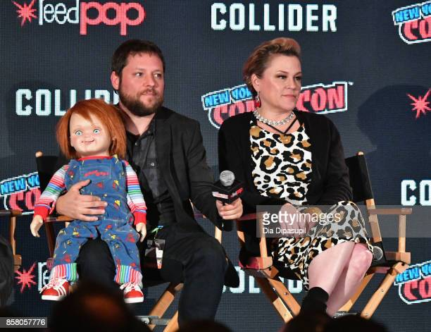 Alex Vincent and Christine Elise speak onstage at Child's Play / Cult Of Chucky Panel during 2017 New York Comic Con Day 1 on October 5 2017 in New...