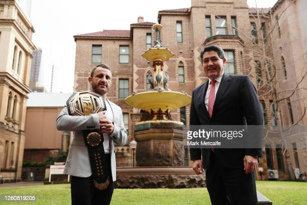 Alex Volkanovski UFC featherweight champion talks with The Hon Dr Geoffrey Lee Minister for Sport Multiculturalism Seniors and Veterans on July 28...