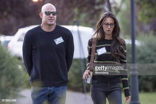 Alex Von Furstenberg founder and chief investment officer of Arrow Capital Management LLC left arrives with Ali Kay for the morning session during...
