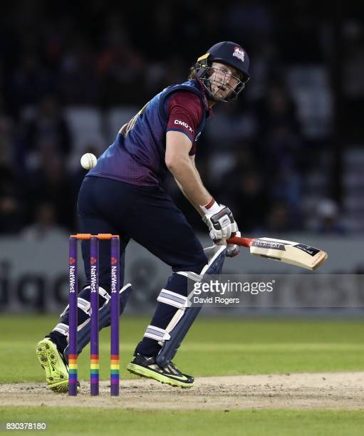 Alex Wakely of Northamptonshire plays the ball during the NatWest T20 Blast match between the Northamptonshire Steelbacks and Leicestershire Foxes at...