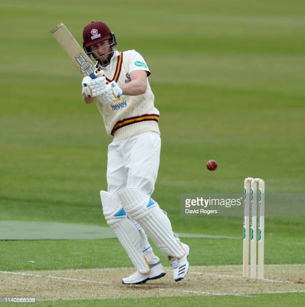 Alex Wakely of Northamptonshire pulls the ball for four runs during the Specsavers County Championship Division Two match between Northamptonshire...