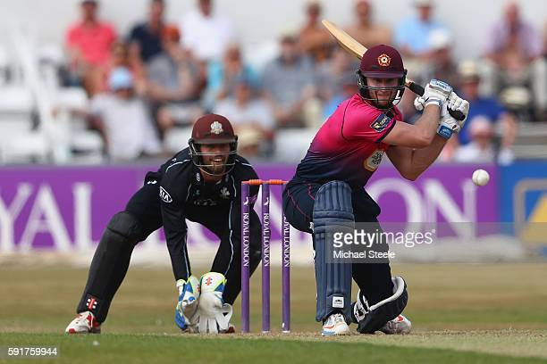Alex Wakely of Northants reverse sweeps off the bowling of Gareth Batty as wicketkeeper Ben Foakes looks on during the Royal London OneDay Cup...