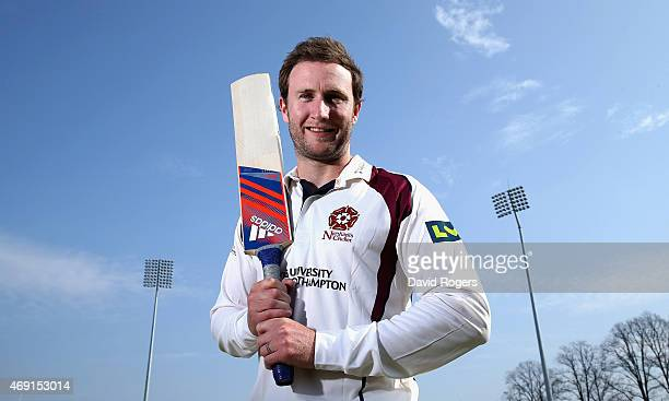 Alex Wakely the Northamptonshire captain poseso during the photocall held at the County Ground on April 10 2015 in Northampton England