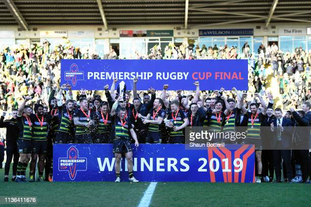 Alex Waller lifts the Premiership Rugby Cup as Northampton Saints celebrate winning the Premiership Rugby Cup Final match between Northampton Saints...