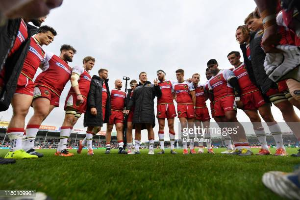 Alex Waller of Northampton Saints talks to his players following their defeat during the Gallagher Premiership Rugby match between Exeter Chiefs and...