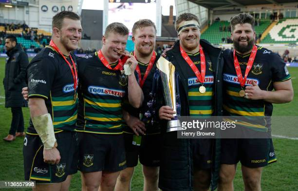 Alex Waller Reece Marshall James Fish Paul Hill and Francois Van Wyk of Northampton Saints with the trophy after the Premiership Rugby Cup Final...