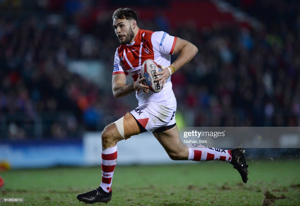 Alex Walmsley of St Helens in action during the Betfred Super League match between St Helens and Castleford Tigers at Langtree Park on February 2, 2018 in St Helens, England.