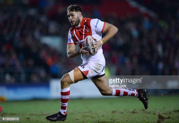 Alex Walmsley of St Helens in action during the Betfred Super League match between St Helens and Castleford Tigers at Langtree Park on February 2...