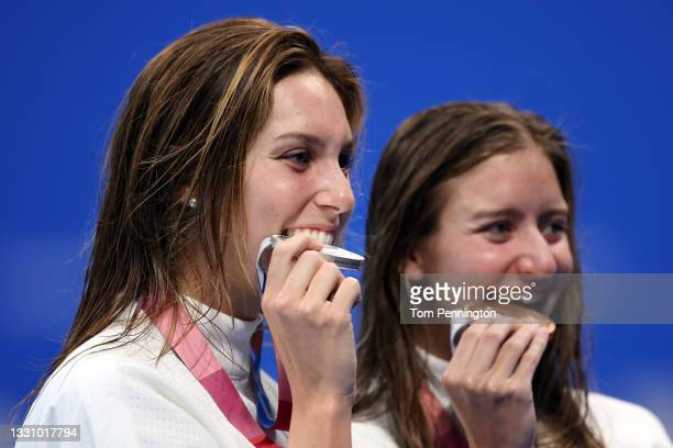 Alex Walsh and Kate Douglass of Team United States pose with their silver and bronze medals during the medal ceremony for the Women's 200m Individual...