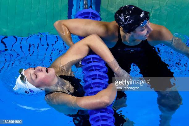 Alex Walsh and Kate Douglass of the United States react after competing in the Women's 200m individual medley final during Day Four of the 2021 U.S....