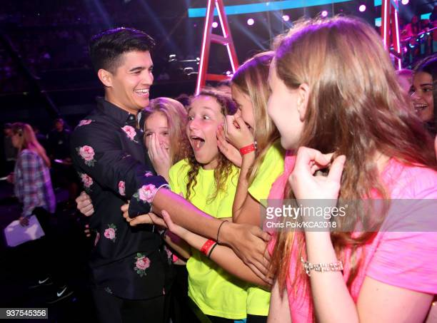 Alex Wassabi and fans at Nickelodeon's 2018 Kids' Choice Awards at The Forum on March 24 2018 in Inglewood California