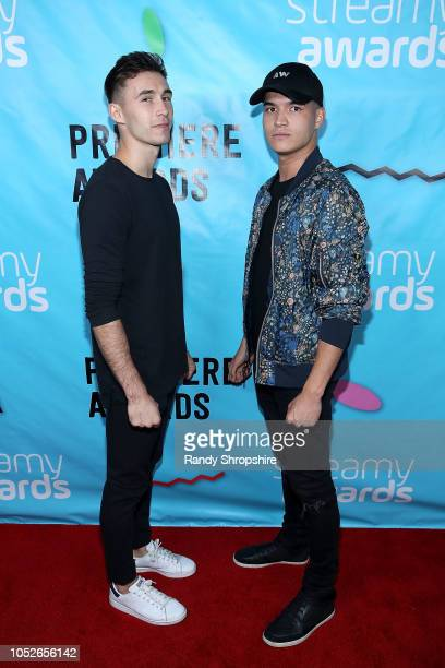 Alex Wassabi and guest attend the 2018 Streamys Premiere Awards at The Broad Stage on October 20 2018 in Santa Monica California