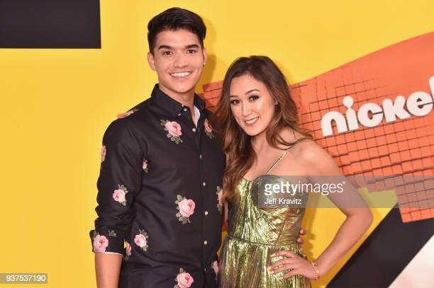 Alex Wassabi and LaurDIY attend Nickelodeon's 2018 Kids' Choice Awards at The Forum on March 24 2018 in Inglewood California