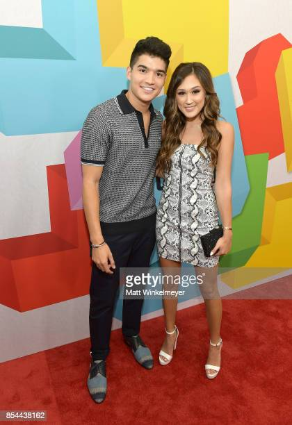Alex Wassabi and Lauren Riihimaki at the 2017 Streamy Awards at The Beverly Hilton Hotel on September 26 2017 in Beverly Hills California