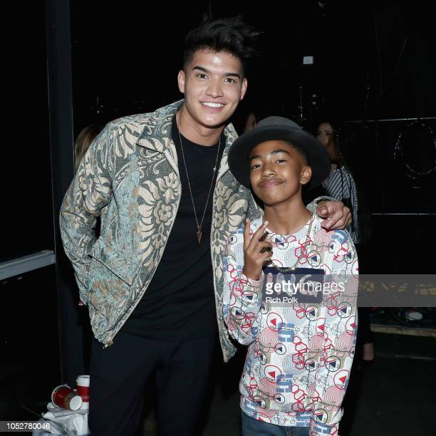 Alex Wassabi and Miles Brown pose backstage during The 8th Annual Streamy Awards at The Beverly Hilton Hotel on October 22 2018 in Beverly Hills...