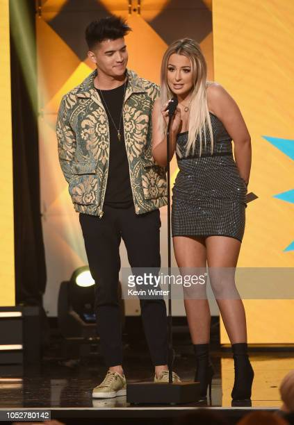 Alex Wassabi and Tana Mongeau speak onstage during The 8th Annual Streamy Awards at The Beverly Hilton Hotel on October 22 2018 in Beverly Hills...