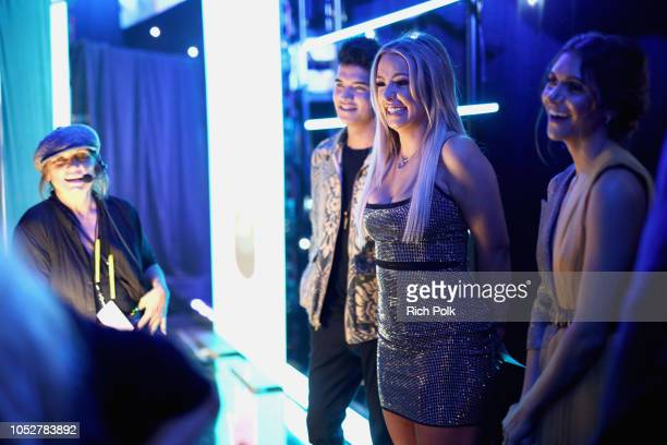 Alex Wassabi Tana Mongeau and Alyson Stoner react backstage during The 8th Annual Streamy Awards at The Beverly Hilton Hotel on October 22 2018 in...