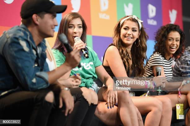Alex Wassabi Tana Mongeau Gabby Hannah Angela Russett and Liza Koshy appear at Escape the Night 2 panel and premiere at VidCon at Anaheim Convention...