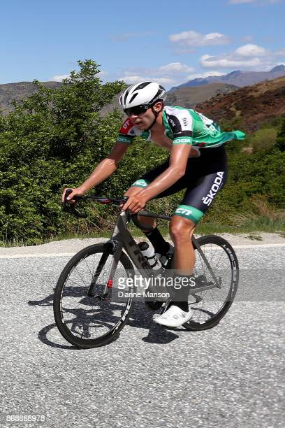 Alex West of Palmerston North Team Skoda Racing makes the climb to Coronet Peak during stage 3 from Mossburn to Coronet Peak during the 2017 Tour of...