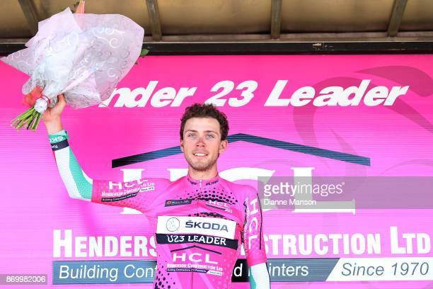 Alex West of Palmerston North Team Skoda Racing receives the Under 23 jersey on the final stage during the 2017 Tour of Southland on November 4 2017...