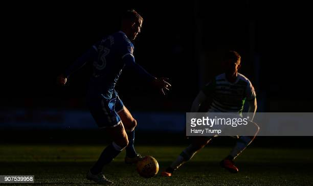 Alex Whitemore of Chesterfield looks to break past Otis Khan of Yeovil Town during the Sky Bet League Two match between Yeovil Town and Chesterfield...