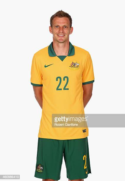 Alex Wilkinson of Australia poses during an Australian Socceroos headshot session at the InterContinental Hotel on January 3 2015 in Melbourne...