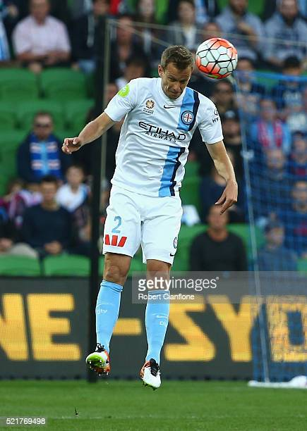 Alex Wilkinson of Melbourne City heads the ball during the ALeague Elimination Final match between Melbourne City FC and Perth Glory at AAMI Park on...