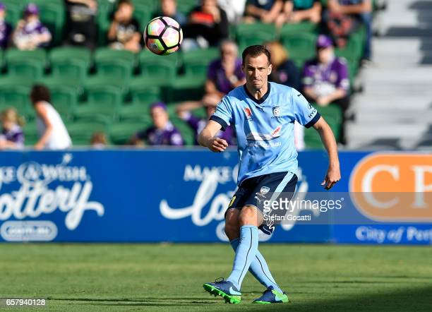 Alex Wilkinson of Sydney FC kicks the ball during the round 24 ALeague match between Perth Glory and Sydney FC at nib Stadium on March 26 2017 in...