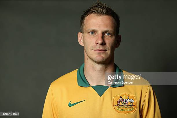 Alex Wilkinson of the Socceroos poses during an Australian Socceroos portrait session at Crowne Plaza Terrigal on May 20 2014 in Sydney Australia
