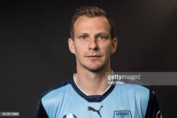 Alex Wilkinson poses during the Sydney FC ALeague headshots session at Macquarie University on September 5 2017 in Sydney Australia