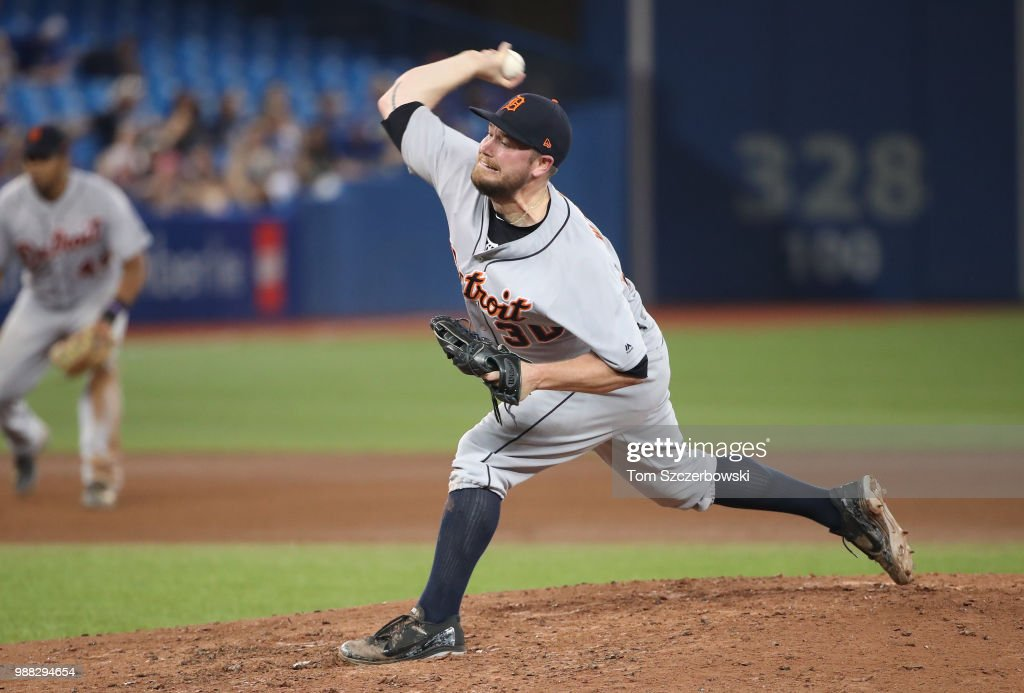 Alex Wilson #30 of the Detroit Tigers delivers a pitch in the eighth inning during MLB game action against the Toronto Blue Jays at Rogers Centre on June 30, 2018 in Toronto, Canada.