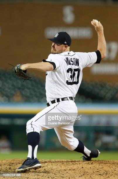 Alex Wilson of the Detroit Tigers pitches against the Minnesota Twins during the ninth inning at Comerica Park on September 17 2018 in Detroit...