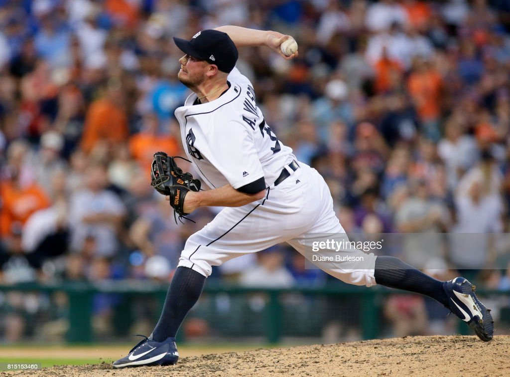 Alex Wilson #30 of the Detroit Tigers pitches against the Toronto Blue Jays during the ninth inning at Comerica Park on July 15, 2017 in Detroit, Michigan. The Tigers defeat the Blue Jays 11-1.