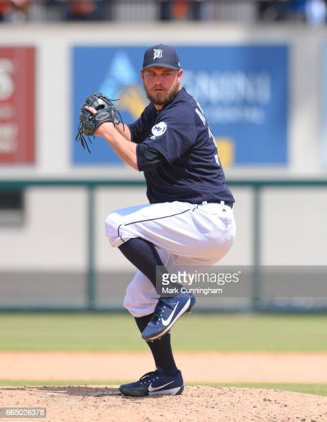 Alex Wilson of the Detroit Tigers pitches during the Spring Training game against the Toronto Blue Jays at Publix Field at Joker Marchant Stadium on...