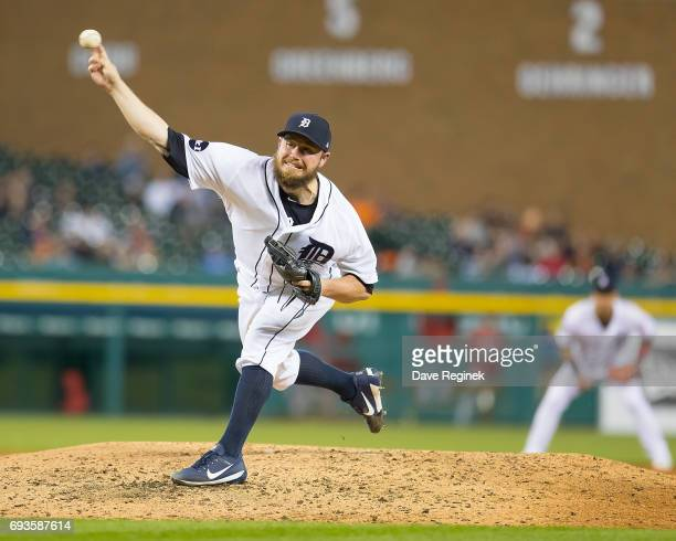 Alex Wilson of the Detroit Tigers pitches in the eighth inning during a MLB game against the Los Angeles Angels at Comerica Park on June 7 2017 in...