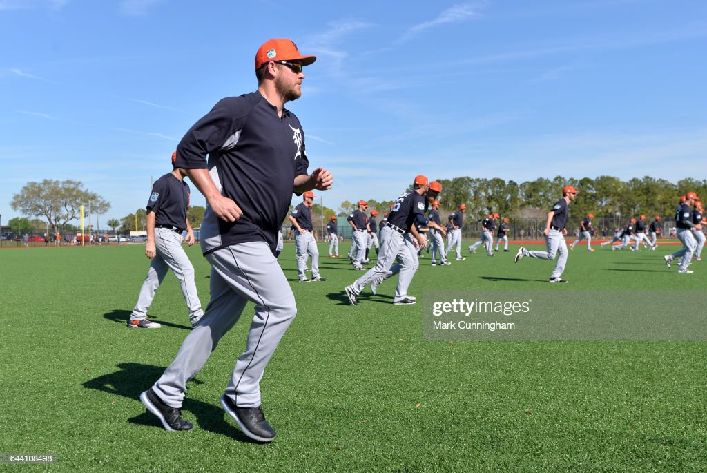 Alex Wilson #30 of the Detroit Tigers runs to warm-up during Spring Training workouts at the TigerTown facility on February 20, 2017 in Lakeland, Florida.