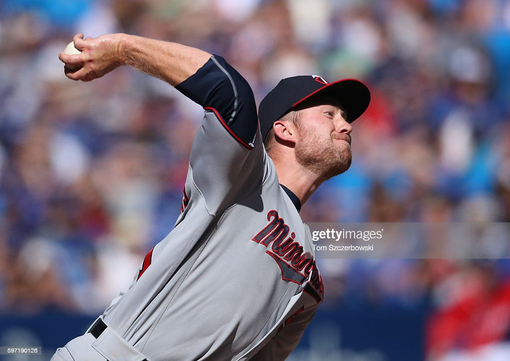 Alex Wimmers #51 of the Minnesota Twins delivers a pitch in the eighth inning during MLB game action against the Toronto Blue Jays on August 28, 2016 at Rogers Centre in Toronto, Ontario, Canada.
