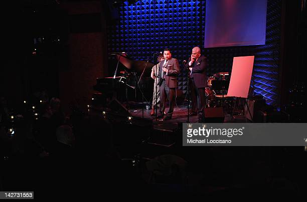 Alex Winehouse and Mitch Winehouse address the audience during the US Launch of the The Amy Winehouse Foundation at Joe's Pub on April 11 2012 in New...