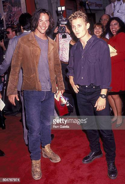 Alex Winter and Keannu Reeves attend the premiere of Bill and Ted's Bogus Journey on July 18 1991 at the Mann Chinese Theater in Hollywood California...