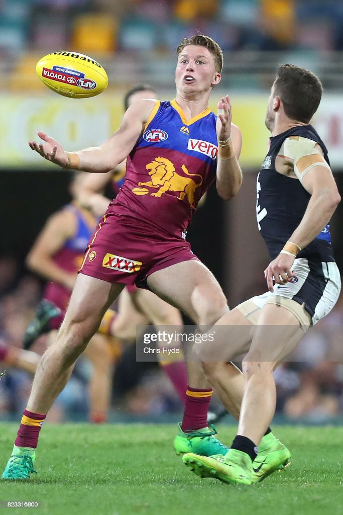 Alex Witherden of the Lions catches the ball during the round 18 AFL match between the Brisbane Lions and the Carlton Blues at The Gabba on July 23, 2017 in Brisbane, Australia.