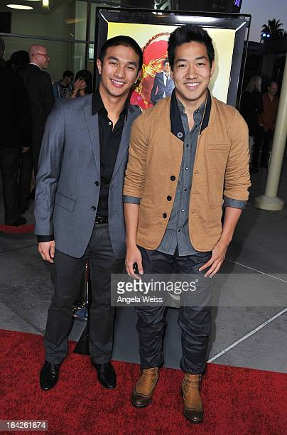 Alex Wong and Marko Germar arrive to the LA screening of Magnolia Pictures' 'The Brass Teapot' at ArcLight Hollywood on March 21 2013 in Hollywood...