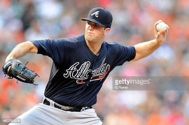 Alex Wood of the Atlanta Braves pitches against the Baltimore Orioles at Oriole Park at Camden Yards on July 27 2015 in Baltimore Maryland