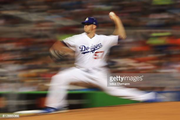 Alex Wood of the Los Angeles Dodgers and the National League pitches in the fifth inning against the American League during the 88th MLB AllStar Game...