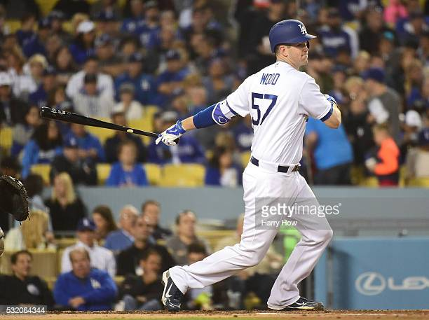 Alex Wood of the Los Angeles Dodgers hits a single during the second inning against the San Diego Padres at Dodger Stadium on April 29 2016 in Los...