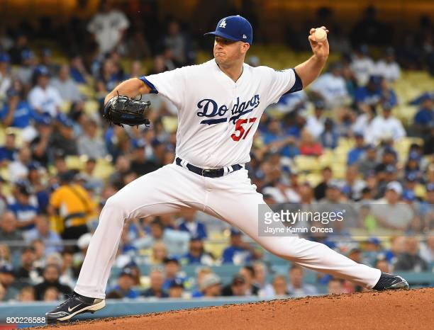 Alex Wood of the Los Angeles Dodgers in the second inning against the Colorado Rockies at Dodger Stadium on June 23 2017 in Los Angeles California