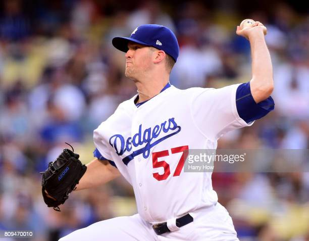 Alex Wood of the Los Angeles Dodgers pitches against the Arizona Diamondbacks during the first inning at Dodger Stadium on July 5 2017 in Los Angeles...